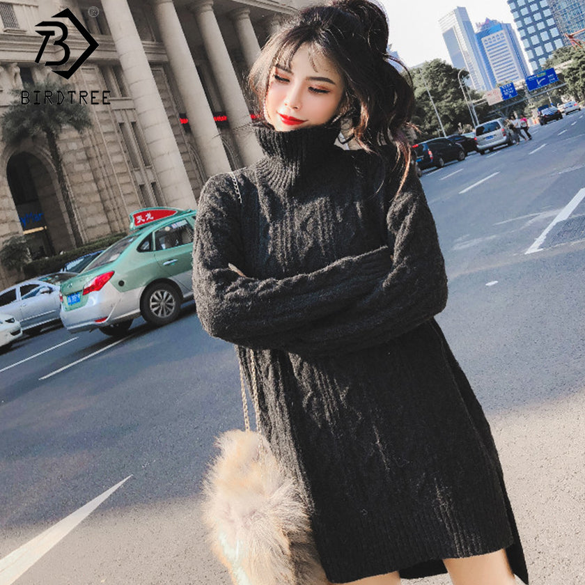 2018 Fashion Ladies Full Sleeve Women Knitting Sweater Dress Solid Turtleneck Pullover Knee-Length Sweater Dress Hots S89908Q