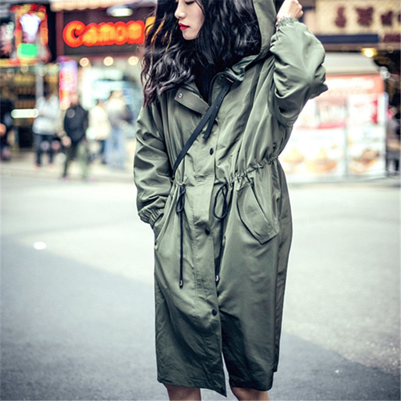 Rugod 2018 New Military Style Coat Women Slim Windbreaker Casual Long Cotton Trench Coat with Adjustable Waist Zipper Overcoat