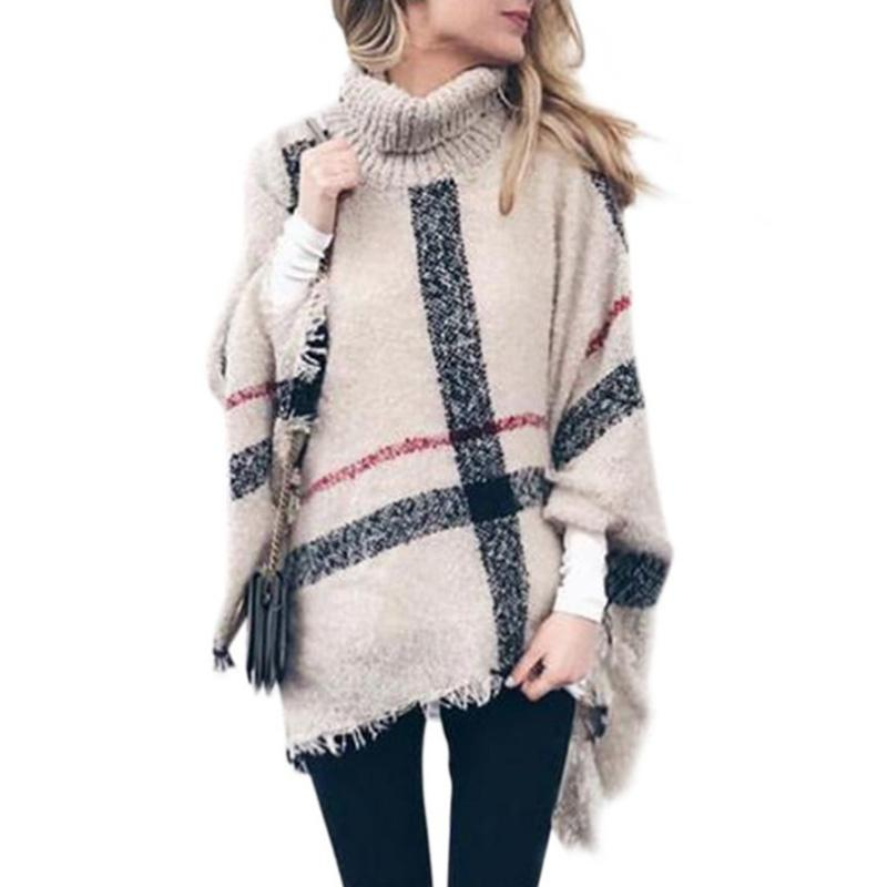 MISSKY New Winter Women Sweater Large Tartan Scarf Wrap Shawl with Tassel Cozy High-neck Checked Pashmina