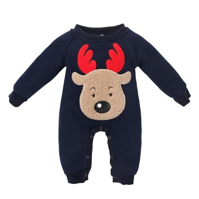 Winter Newborn Baby Thicken Fleece Animal Cartoon Long Sleeves Romper