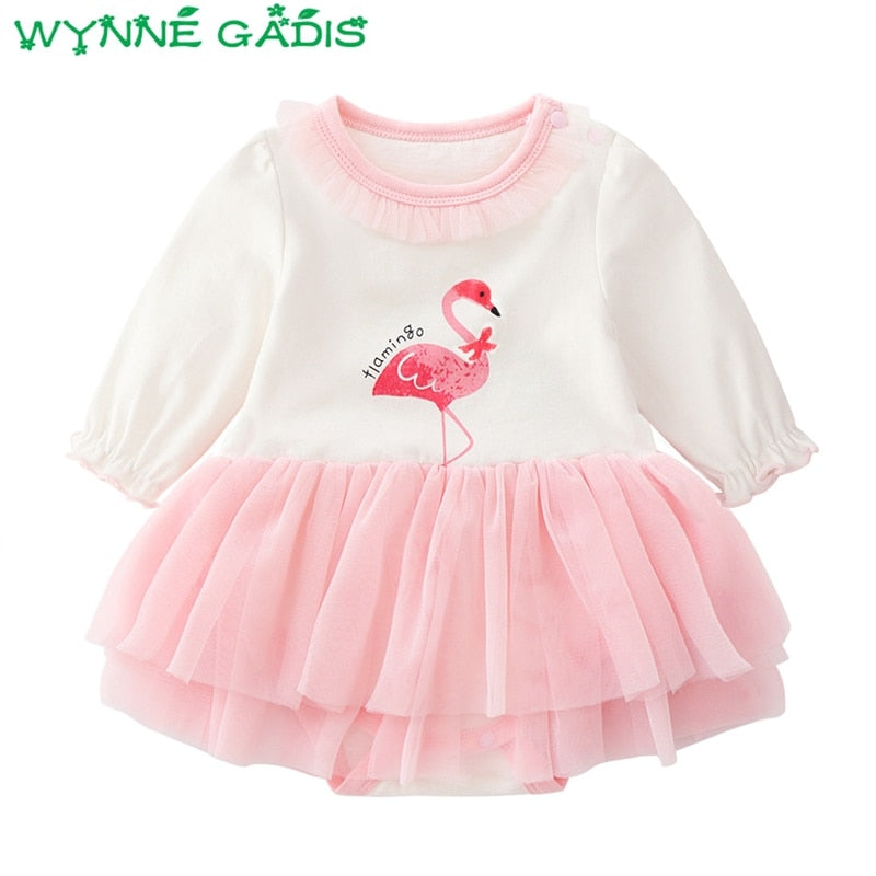Baby Girls Long Sleeve O Neck Cartoon Mesh Bodysuits Princess Party Tutu Newborn Kids Dress Christening Baptism Clothes