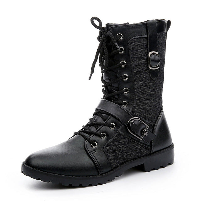 Tangnest Autumn Punk Boots Men Fashion PU Leather Lace-up Motorcycle Boots Black Vintage High Top Buckle Shoes Man XMX516