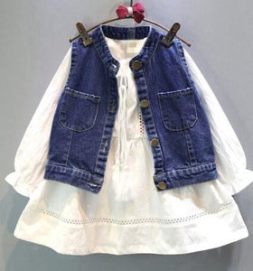 Fashion spring children tracksuits for girls clothing set white dress + denim vest 2pcs kids girl clothes suits costume