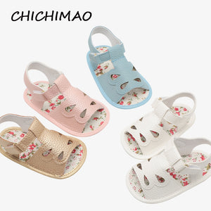 Baby Girl Sandals Baby Shoes Summer PU Leather Hollowing Baby Girl Sandals 0-18 Months Newborn Baby Shoes Toddler Beach Sandals