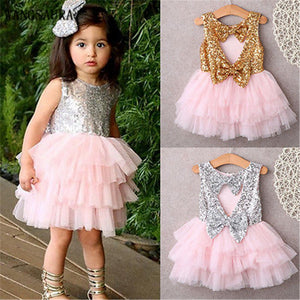 WANGSAURA Children Sleeveless Sequins Lace Princess Glitter Girl Dress With Double Bow Knot A Backless Party