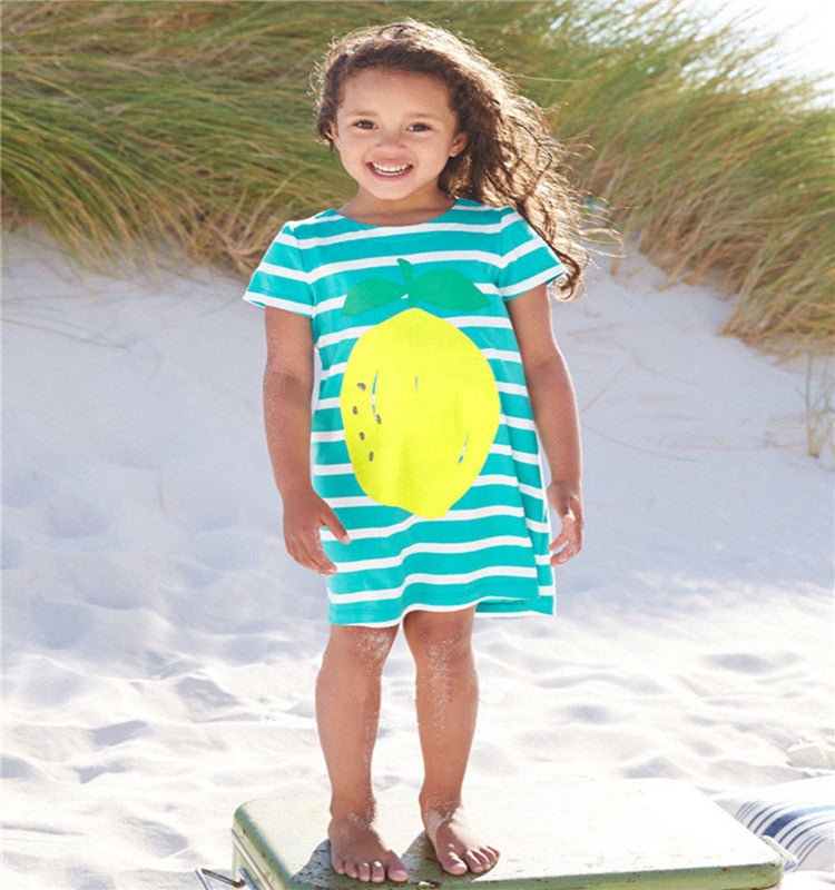 Little maven kids girl summer dress for 18M to 6T Big Lemon