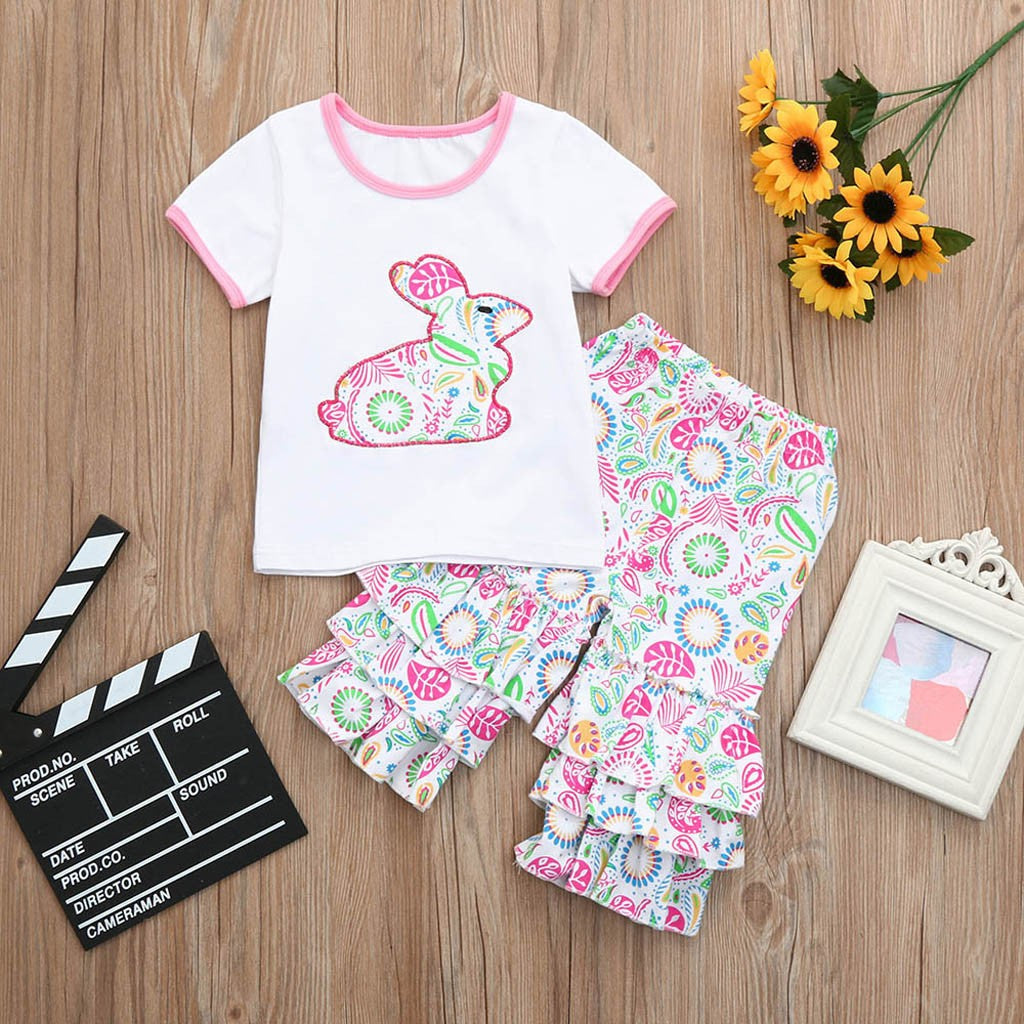 Toddler Infant Baby Girls Easter Rabbit Ruffles Floral Tops Pants Outfits Set