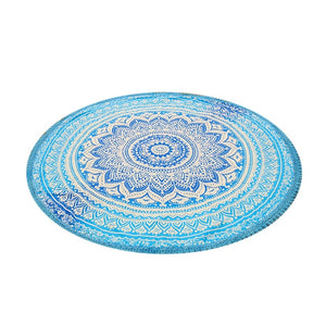 Round Yoga Blanket Polyester Lotus Flowers Mat Breathable Mandala Wall Hanging Decor Art Picnic Beach Towel Blankets