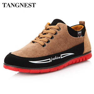 Tangnest Men's Casual Shoes Korean Style Men Lace-Up Flats Autumn Fashion Men's Boots Patchwork Canvas Shoes Man XMX101