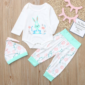 Infant Baby Easter Day Rabbit Print Jumpsuit Romper+Pants+Hat Outfits Set