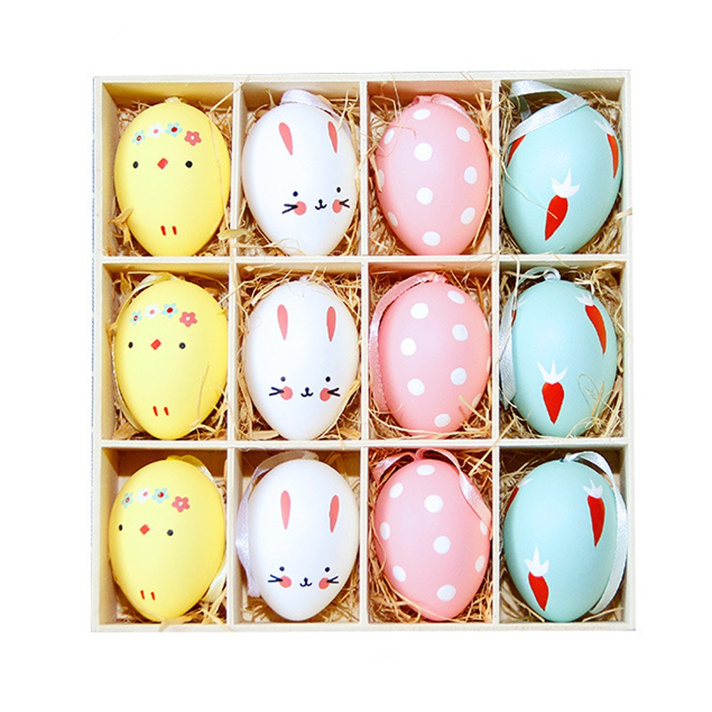 12pc Colorful Baby Kid Drawing Painting Easter Eggs Color Egg Birthday Gift