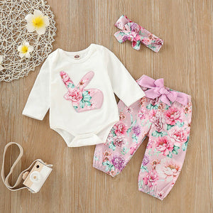 Infant Baby Easter Day Rabbit Print Jumpsuit Romper+Pants+Headband Outfits