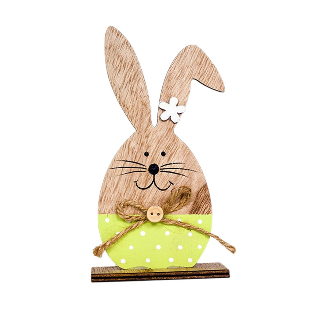 Easter Decorations Wooden Rabbit Shapes Ornaments Craft  Gifts