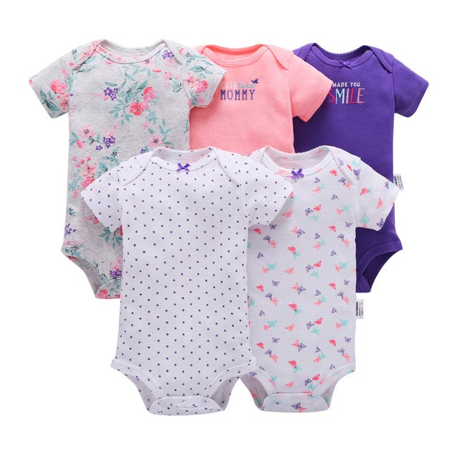 baby boy o-neck short sleeve romper 2019 summer new born girl clothes set newborn outfit cotton 5pcs/lot infant clothing suit