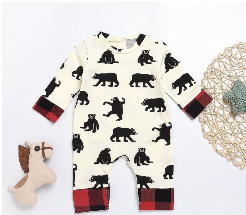 Newborn Baby Romper 2019 Spring Cotton  Animal Overall baby girls jumpsuit Letter Bear Bum Baby boys clothing
