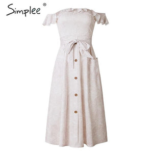 Simplee Elegant ruffled off shoulder women midi dress Bohemian print summer dress High waist bow tie button ladies dresses 2019