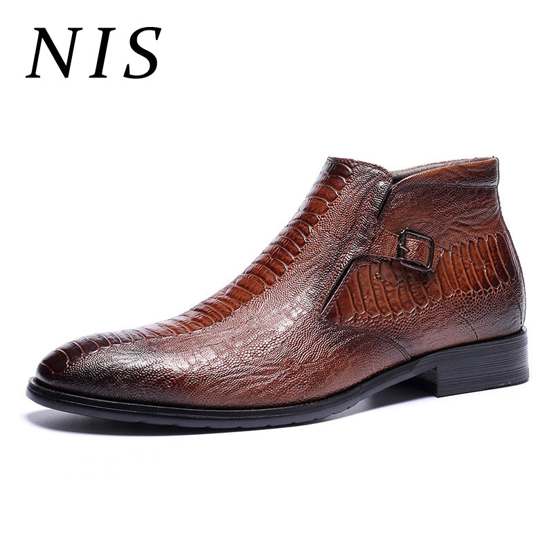 NIS  Embossed Leather Chelsea Boots Men Shoes Autumn Winter 2019 Plush Inner Pointed Toe Side Zipper Ankle Boots Big Size 39-46