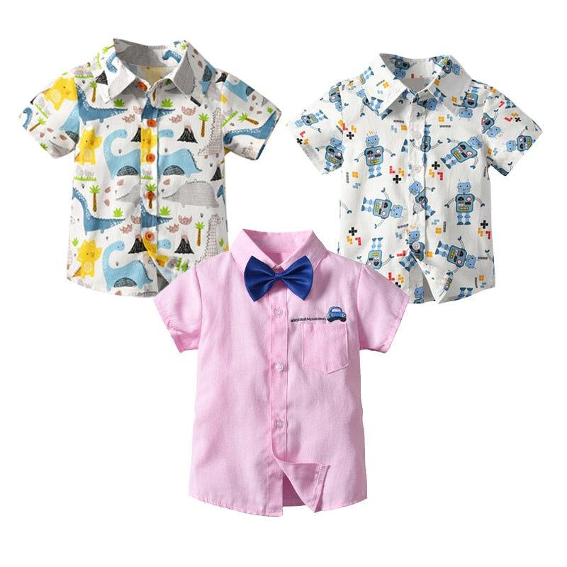 Short Sleeve Basic Boys Shirt Cartoon Print Turn Down Collar Summer Daily Buttons Tops Newborn Baby Toddler Shirts Boys Wear