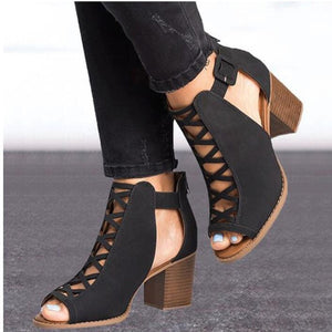 New Women Thick Heel Pumps  Sexy Style Women Peep Toe Pumps Flock Leather Spring Shoes with Zipper Pumps WXG564