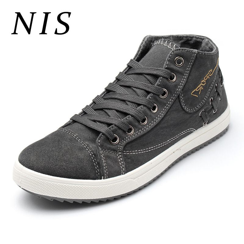 NIS Male Big Size Canvas High Top Casual Shoes Sneakers Men Vulcanized Shoes Breathable Lace Up Walking Outdoor Sports Sneakers