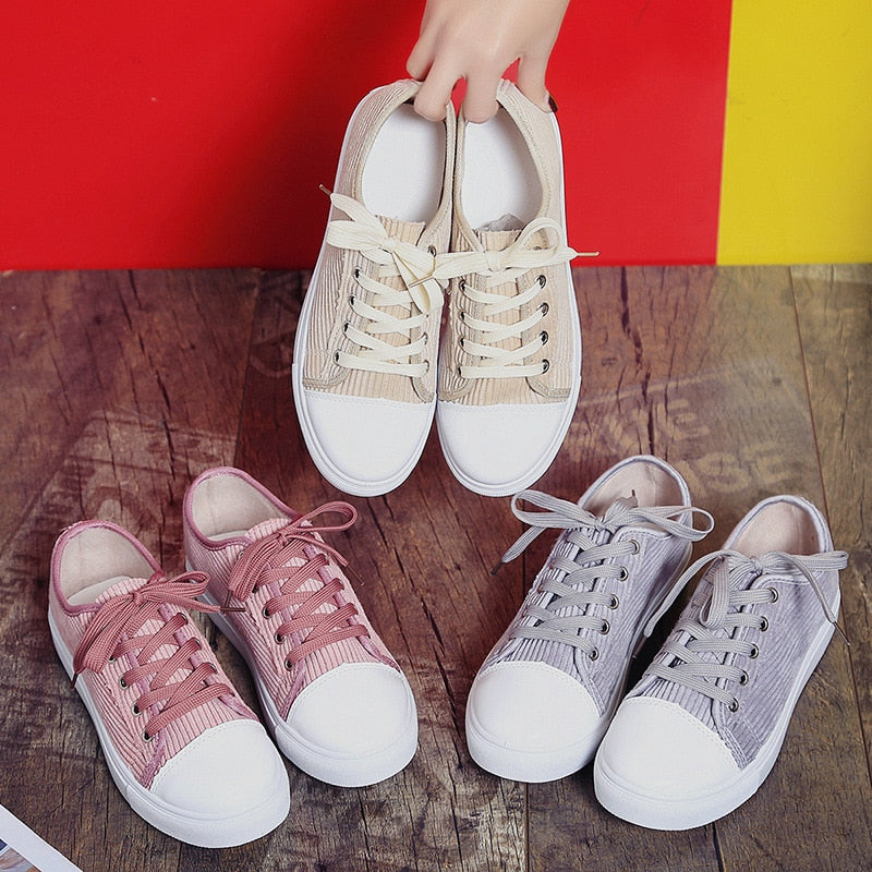 2019 Spring Creepers Platform Casual Canvas Shoes Woman Loafers Silp-on Lace-Up Flats Comfort Women Flat Shoes XWD5164