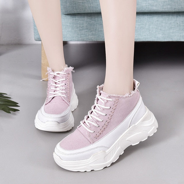 Women Sneakers Canvas Shoes 2019 Spring Platform Female Casual Shoe High Top Ins Hot Sale Daddy Shoes Breathable Creepers XWR111