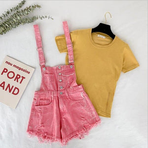 2019 Summer Fashion Women Denim Playsuit Female Jean shorts Rompers Woman Casual Salopette Straps Overalls Tassel Shorts Rompers