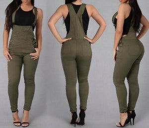 Fashion Jeans Women Jumpsuit Denim Romper Overalls Casual Long Trousers Green White  Pencil Pants Wide Leg Rompers Female