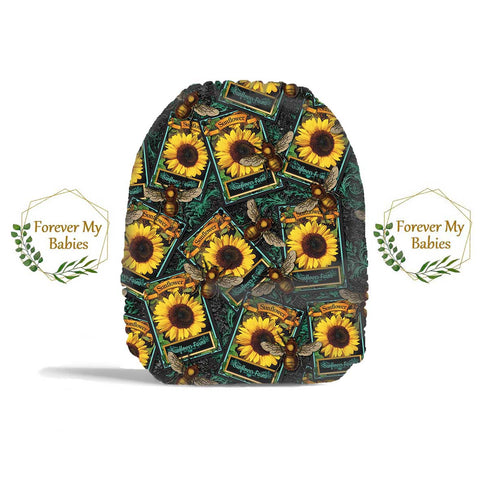 PRE-ORDER Forever My Babies Cloth Diaper - Bees & Sunflower Seed Packs (Single Gussets) - ETA Aug 2021