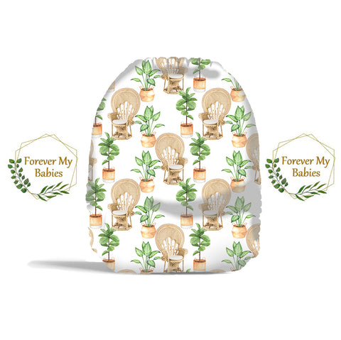 PRE-ORDER Forever My Babies Cloth Diaper - Boho Chairs & House Plants (Single Gussets) - ETA Aug 2021