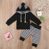 Striped Racoon Ears 2pc Hoodie Set
