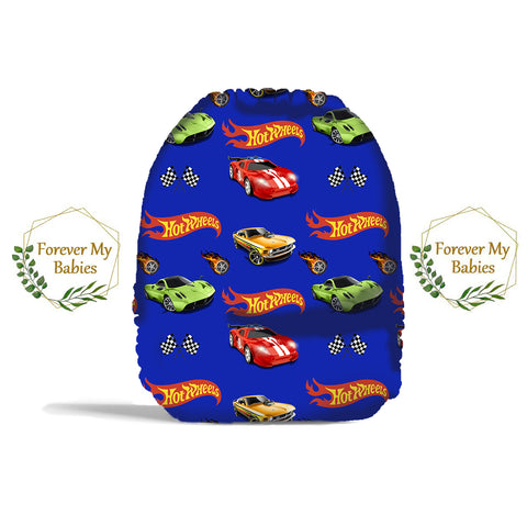 PRE-ORDER Forever My Babies Cloth Diaper - Hot Toy Cars (Single Gussets) - ETA Aug 2021