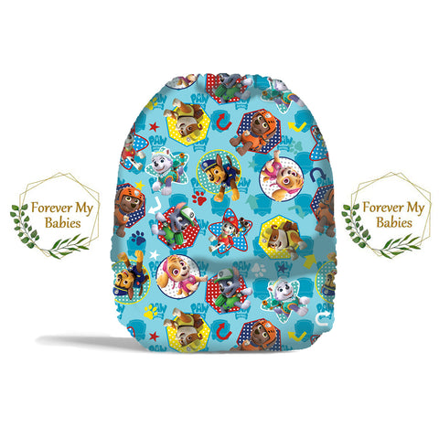 PRE-ORDER Forever My Babies Cloth Diaper - Puppy Heroes Blue Bkgd (Single Gussets) - ETA Aug 2021