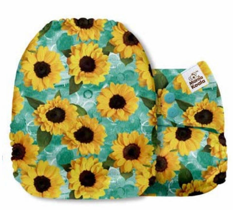 Mama Koala Cloth Diaper - Sunflower Trap Sunflowers & Turquoise - IN STOCK