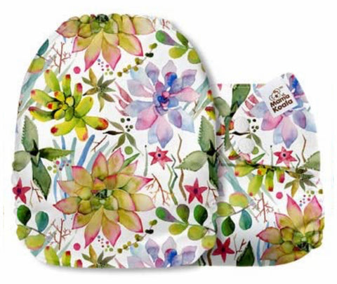 Mama Koala Cloth Diaper - Floral Basket Wild Succulents - IN STOCK