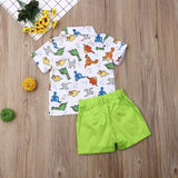 Collared Dino Shirt & Shorts 2pc Set