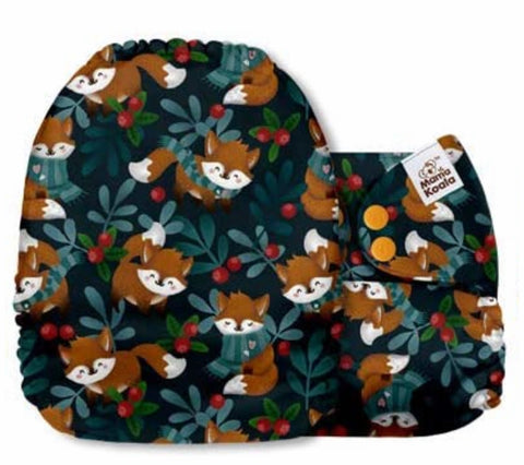 Mama Koala Cloth Diaper - Sunflower Trap Foxes in Scarves - IN STOCK