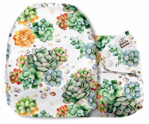Mama Koala Cloth Diaper - Floral Basket Succulents Arrangement - IN STOCK