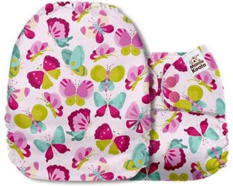 Mama Koala Cloth Diaper - Roaming Fancy Pink Butterflies - IN STOCK