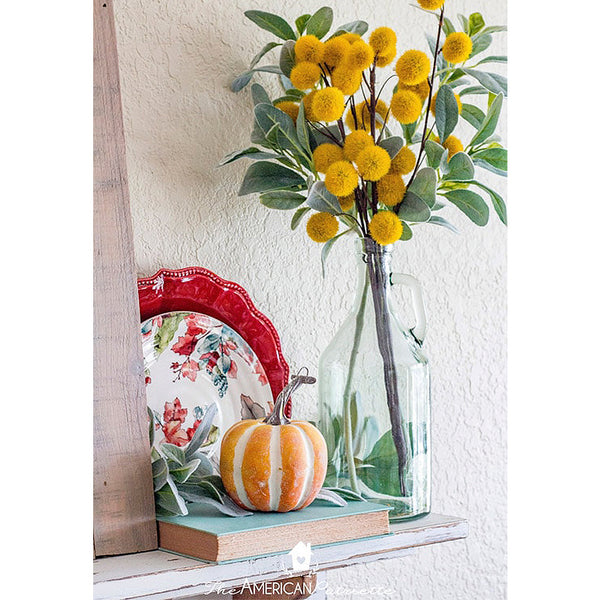 Fall shelf with mini pumpkin and billy ball bouquet