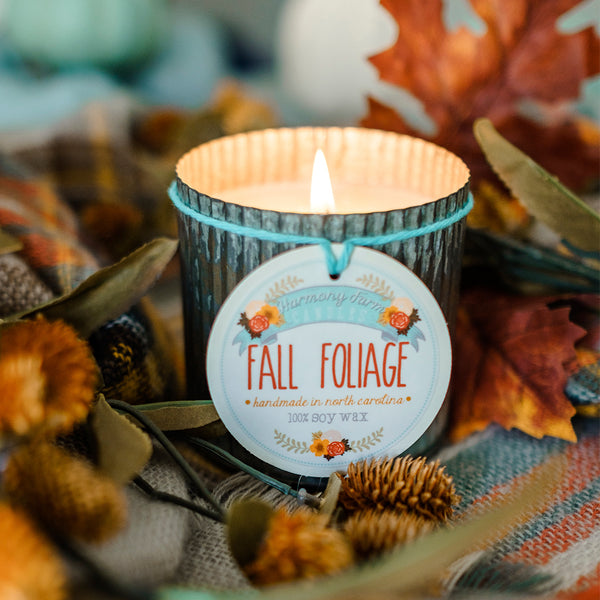Fall Foliage Zinc Jar Candle from Harmony Farm Candles