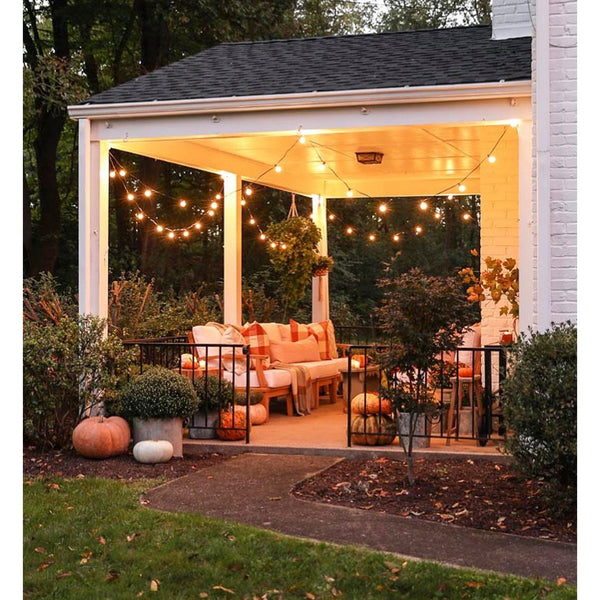 A glowing autumn porch