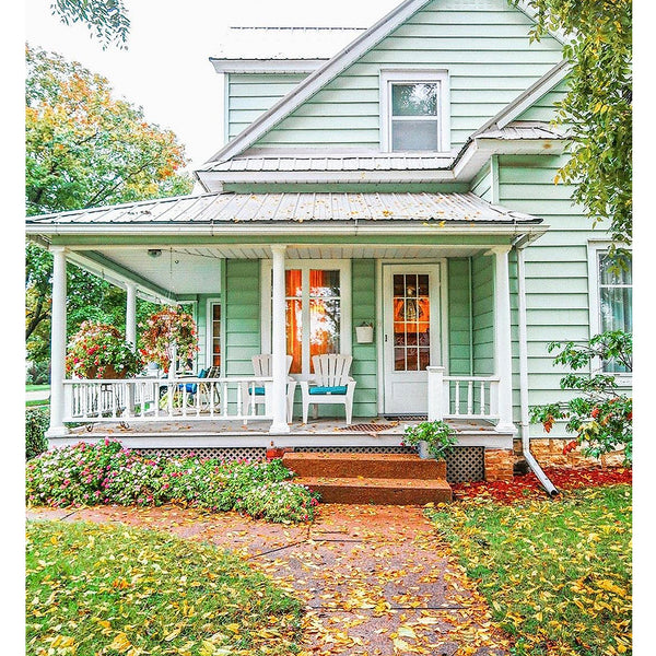 Mint cottage farmhouse in the fall