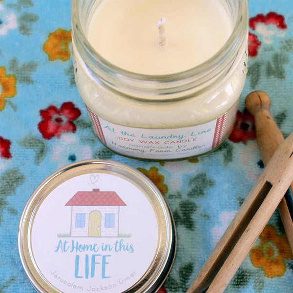 At the Laundry Line Soy Wax Candle in Mason Jar