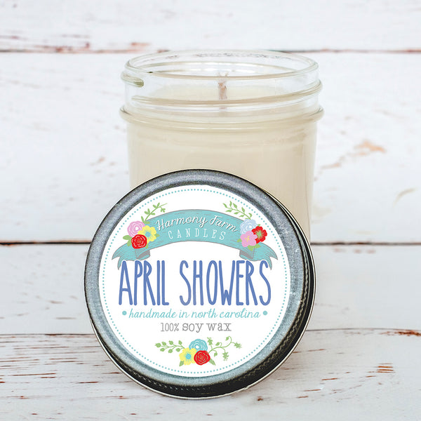 April Showers Soy Wax Candle in Jelly Jar