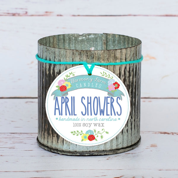 April Showers Soy Wax Candle in Zinc Jar