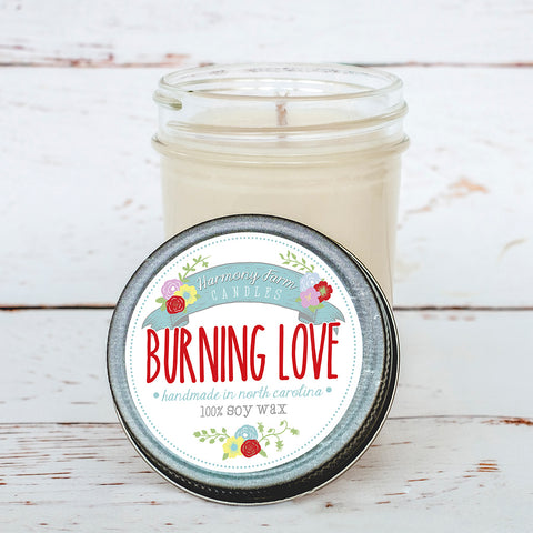 Burning Love Soy Wax Candle in Jelly Jar