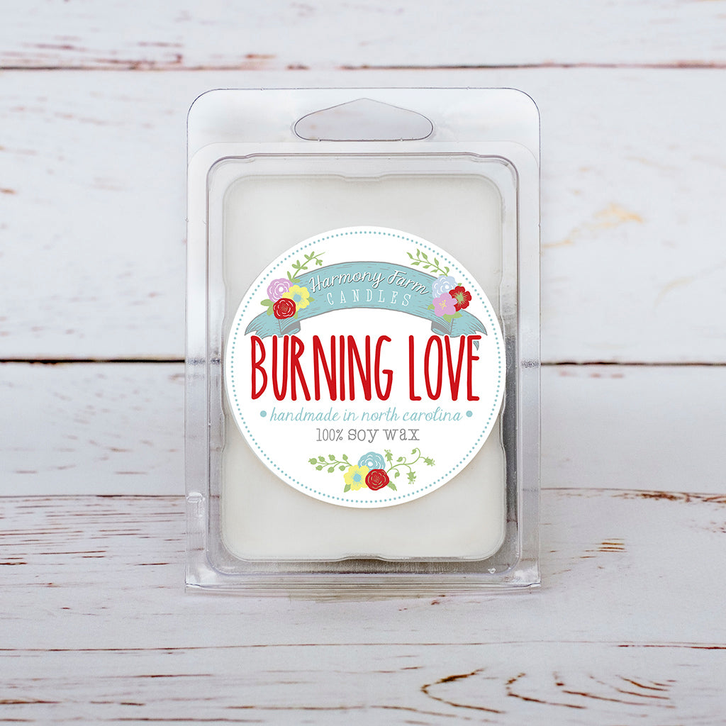 Burning Love Soy Wax Melts in Clamshell