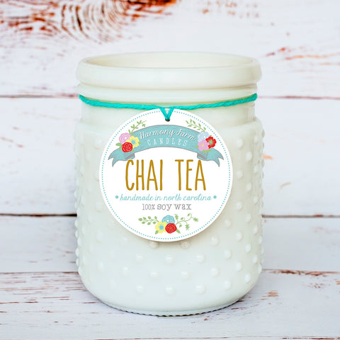 Chai Tea Soy Wax Candle in Milkglass Jar