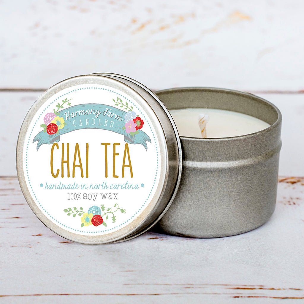 (Imperfect/Second Quality) Chai Tea Soy Wax Candle in Travel Tin